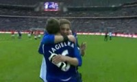 Phil Jagielka is congratulated after scoring Everton's FA Cup Semi-Final winning penalty
