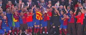 Barcelona Captain, Carlos Puyol, Lifts UEFA Champions League Trophy