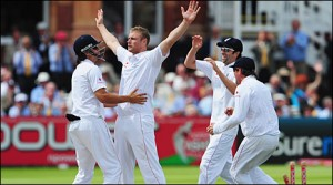 Andrew Flintoff celebrates his first 5 wicket haul at Lord's