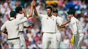 Hilfenhaus is congratulated after taking a wicket for Australia.