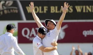 Andrew Flintoff is congratulated after running out Australian captain Ricky Ponting