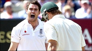 James Anderson celebrates taking the wicket of Shane Watson (53)