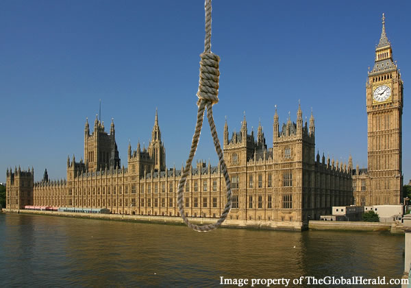 "hung parliament (play on words - ""hanged"" image)"