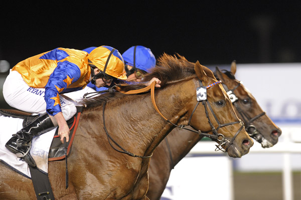 Steele Tango passed Enak right on the line in the final race at Meydan