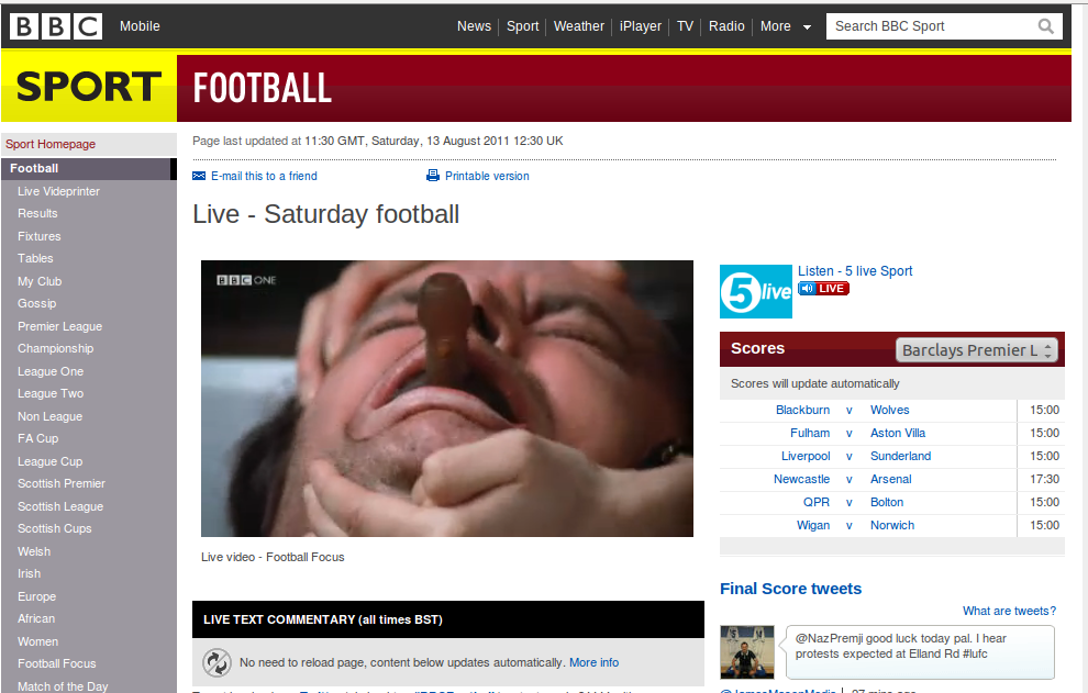 """BBC Website Shows """"One Flew Over The Cuckoo's Nest"""" Rather Than Football Focus"""