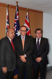 Minister Bob Carr with Fiji's Foreign Affairs Minister, Ratu Inoke Kubuabola, and New Zealand Foreign Minister, Murray McCully, at the Australia, New Zealand and Fiji trilateral meeting, 30 July, Sydney.