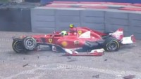 Felipe Massa has a lucky escape after a high-speed accident in practice at Monaco Grand Prix 2013