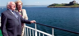 Irish President Michael D Higgins on Iona with his wife Sabina, July 2013