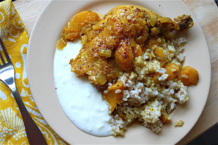 Chicken with Peaches. Image: Louisa Shafia 2013