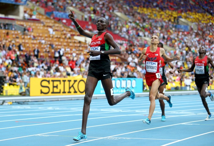 Asbel Kiprop takes gold in the Men's 1500m Final at the Moscow World Championships 2013