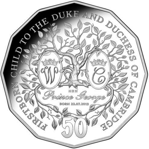 50c coin dedicated to Prince George, designed by the Royal Australian Mint