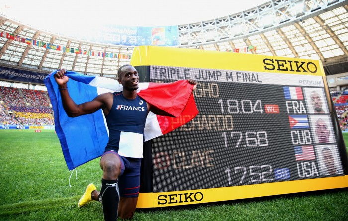 Teddy Tamgho jumped 18.04m to win gold in Moscow. (Photo by Getty Images/Getty Images for SEIKO)