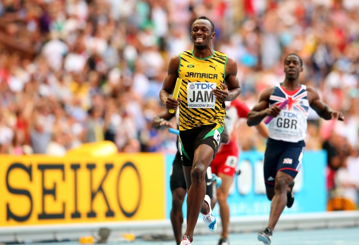 Usain Bolt crosses the line to take Gold for Jamaica in the Men's 4x100m Final at Moscow 2013.