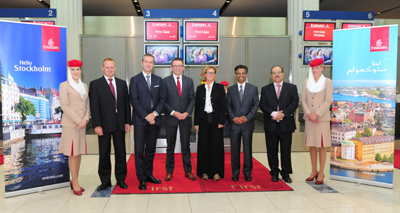 The VIP delegation prepares for departure to Stockholm. From left to right: Christer Skogum, President of ABB Metals, Anders Lindblad, Middle East Regional Head for Ericsson, Hubert Frach, Emirates' Divisional Senior Vice President Commercial Operations, West, Maya Ternström, Executive Director of the Swedish Business Council, Pradeep Kumar, Emirates' Senior Vice President Cargo Revenue Optimisation and Systems and Professor Najib Al Khaja, CEO of MAF Healthcare - Majid Al Futtaim Group.