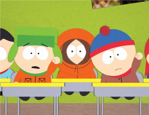 The South Park boys in the classroom