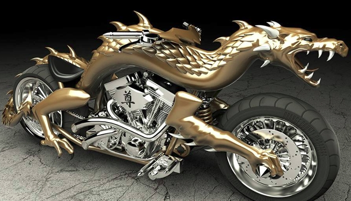 The head of the golden dragon on this motorcycle from Orange County Choppers was made using a 3D Printer