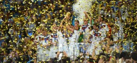 Germany players celebrate winning the World Cup after the 2014 FIFA World Cup Brazil Final match between Germany and Argentina at Maracana on July 13, 2014 in Rio de Janeiro, Brazil. (Photo by Matthias Hangst/Getty Images for Sony)