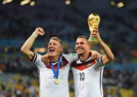 Enzo Perez of Argentina and Bastian Schweinsteiger of Germany compete for the ball during the 2014 FIFA World Cup Brazil Final match between Germany and Argentina at Maracana on July 13, 2014 in Rio de Janeiro, Brazil. (Photo by Jamie McDonald/Getty Images for Sony)