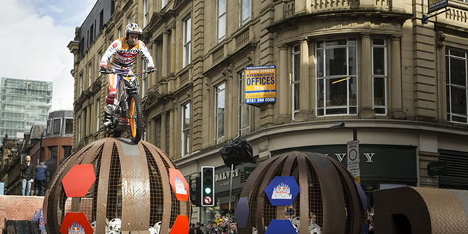 Toni Bou in action at the Red Bull City Trial in Manchester