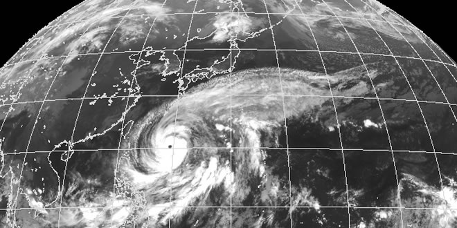 Typhoone Vongfong as viewed from MTSAT in infrared. Image courtesy: Japan Meteorological Agency