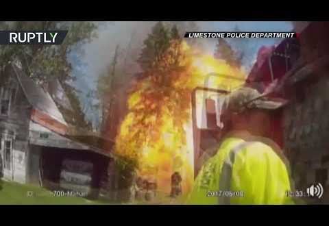 Firefighter hurled back by unexpected blast in US – bodycam footage