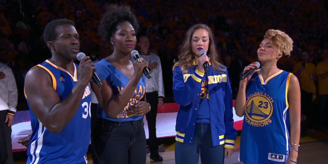 The Cast of Hamilton Performs National Anthem Before Game 5 of the NBA Finals