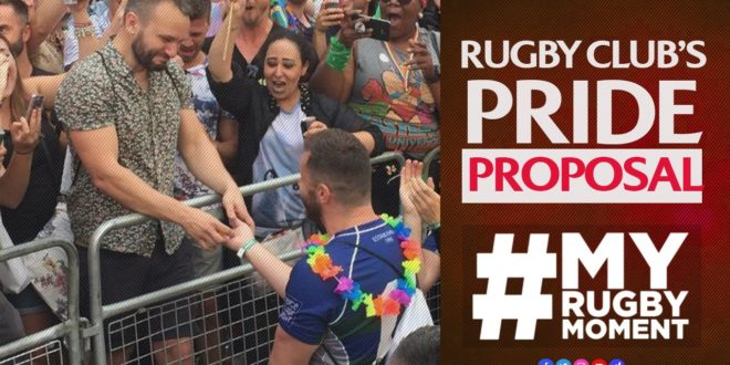 Teammates help rugby player propose at London Pride | #MyRugbyMoment