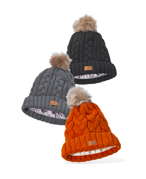 Foldover Warm Satin-Lined Caps With Pom